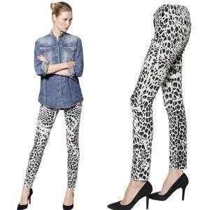 BALMAIN White Leopard Print Stretch Skinny Jeans
